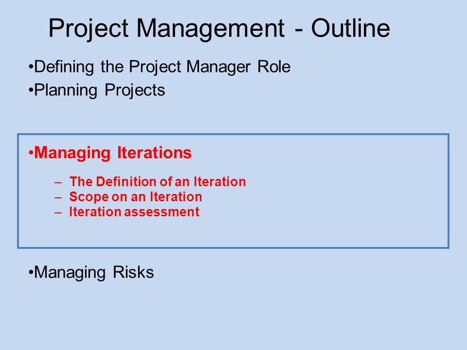 Project Management - Outline