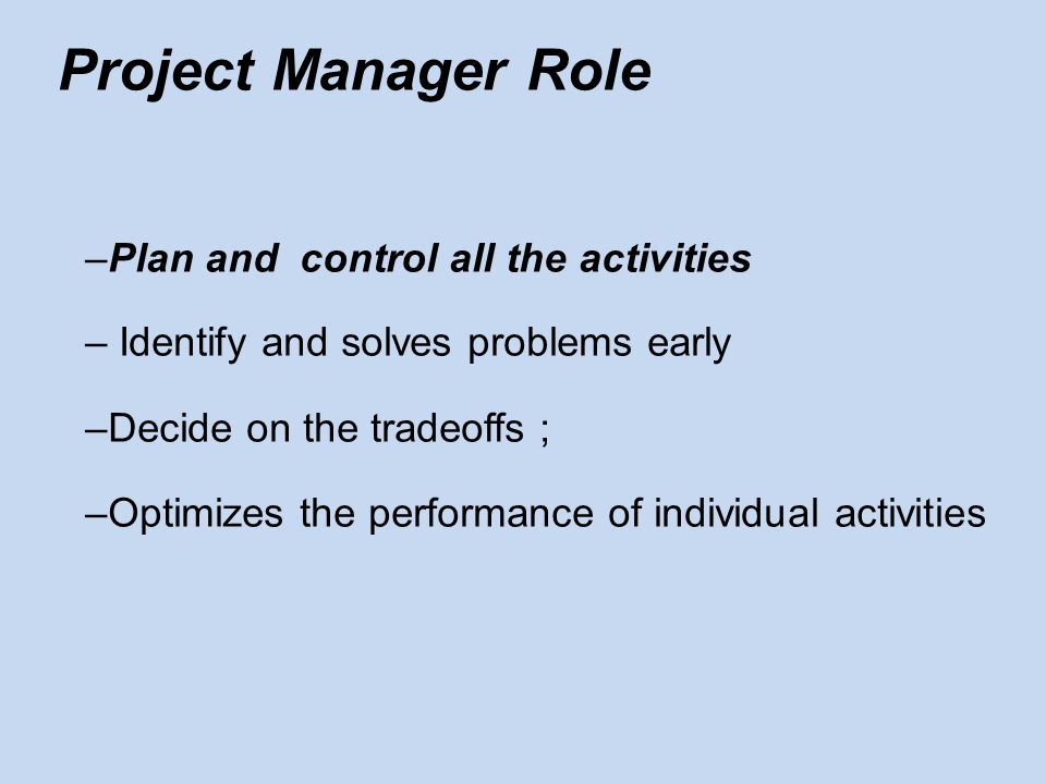 Project Manager Role Plan and control all the activities