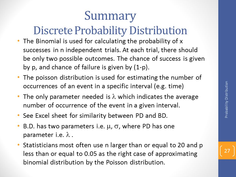 Summary Discrete Probability Distribution
