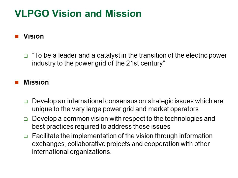 VLPGO Vision and Mission