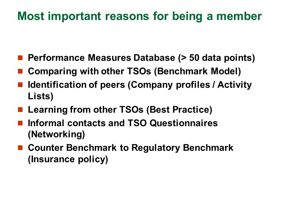 Most important reasons for being a member
