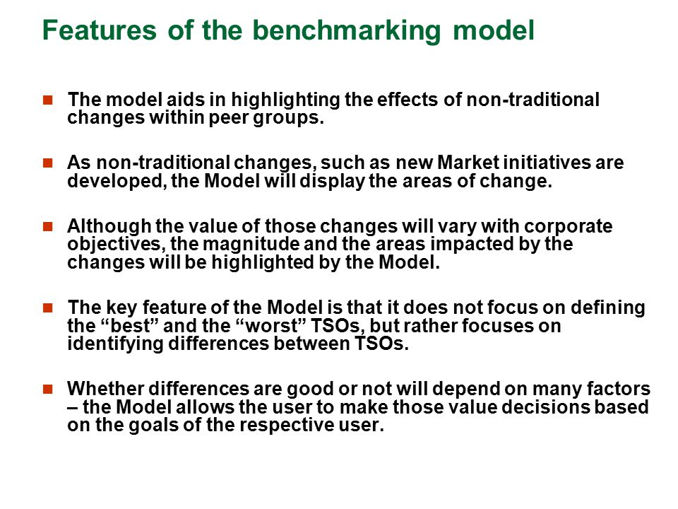 Features of the benchmarking model
