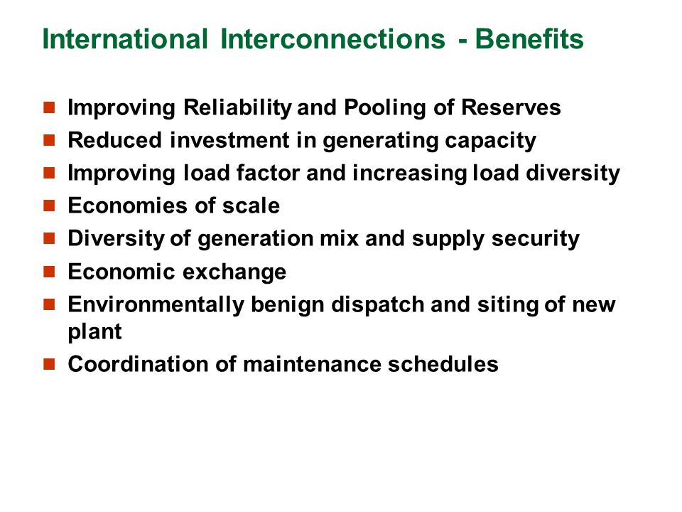 International Interconnections - Benefits