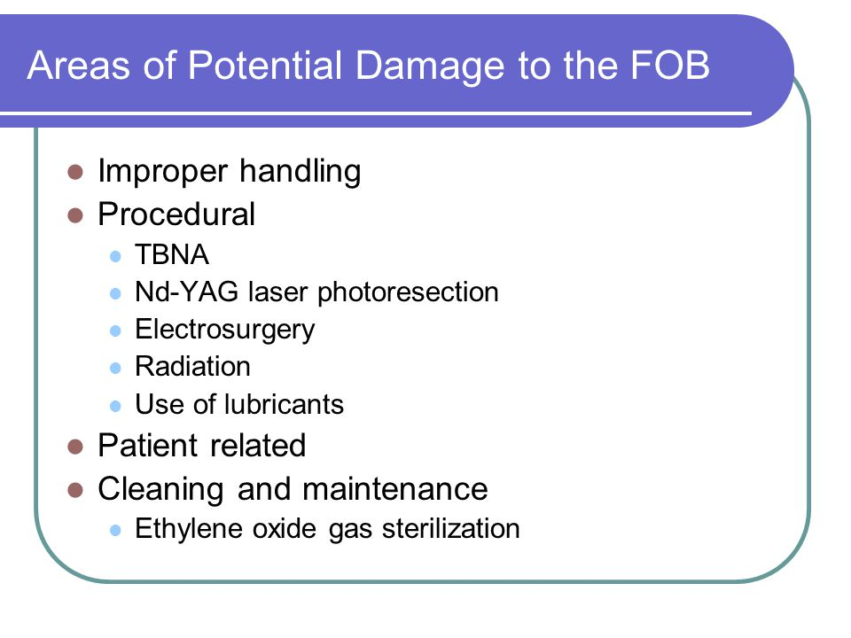 Areas of Potential Damage to the FOB