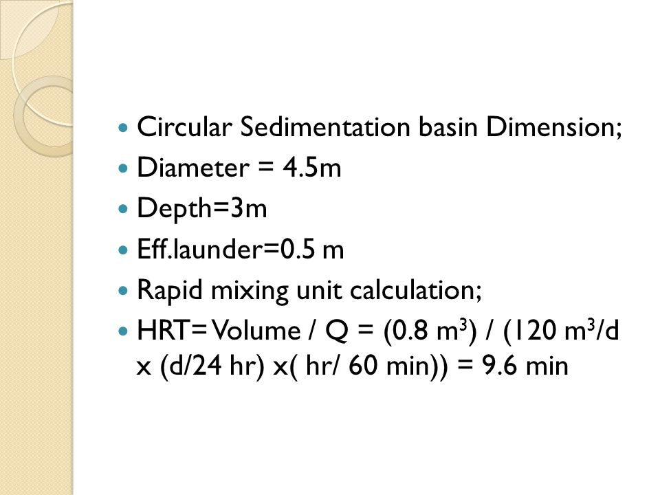 Circular Sedimentation basin Dimension;