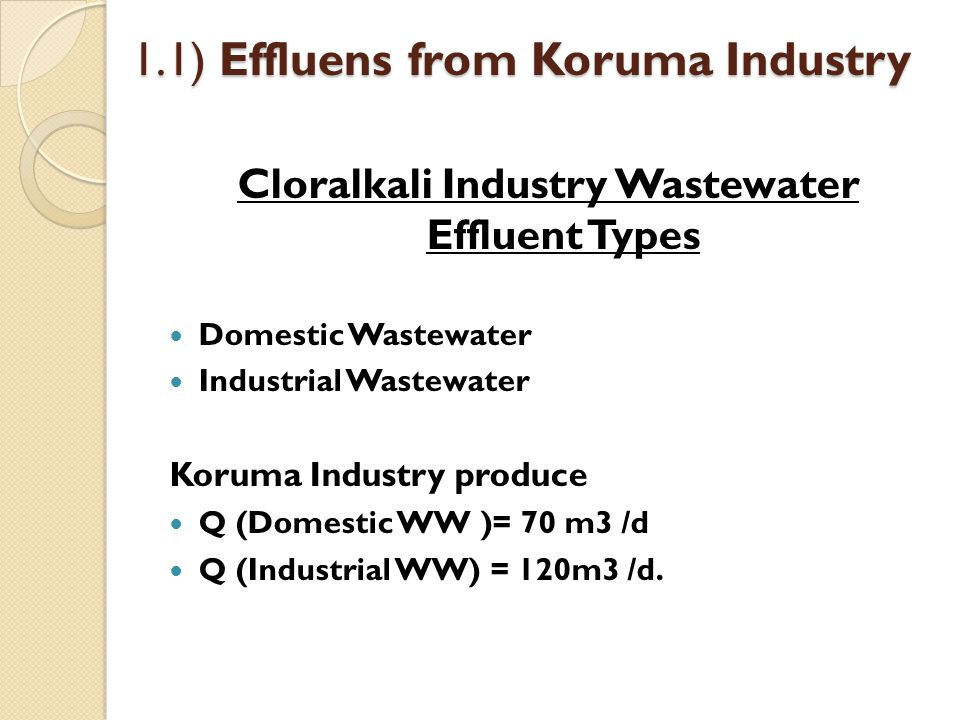 1.1) Effluens from Koruma Industry