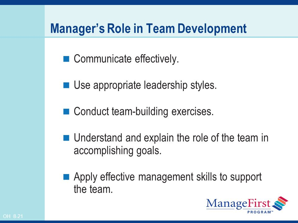 Manager's Role in Team Development