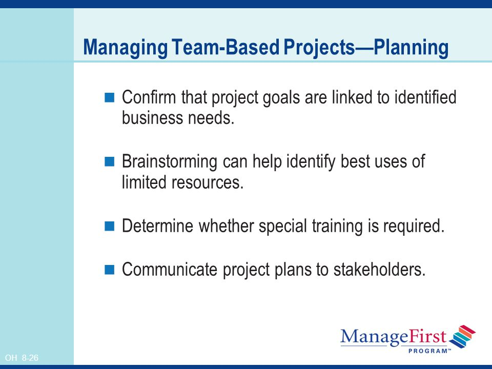 Managing Team-Based Projects—Planning