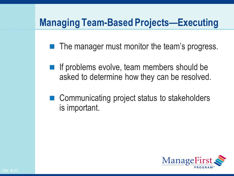 Managing Team-Based Projects—Executing