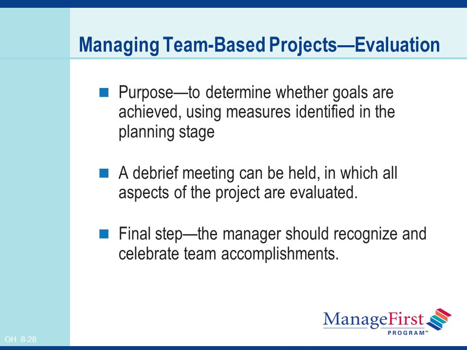 Managing Team-Based Projects—Evaluation
