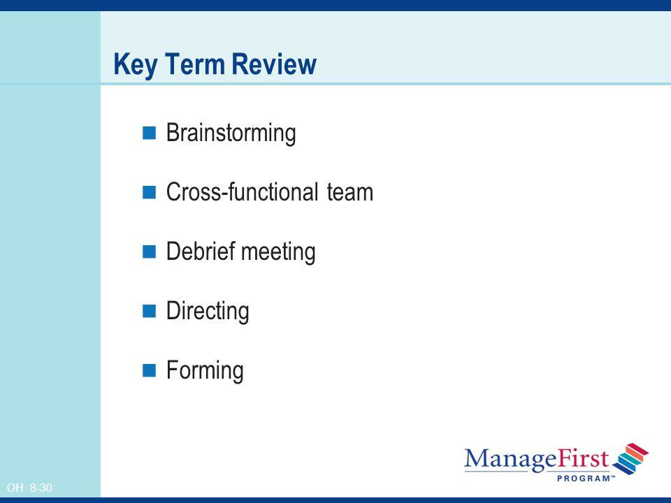 Key Term Review Brainstorming Cross-functional team Debrief meeting