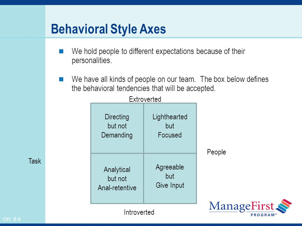 Behavioral Style Axes We hold people to different expectations because of their personalities.