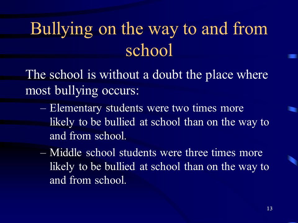 Bullying on the way to and from school