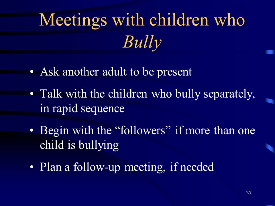 Meetings with children who Bully