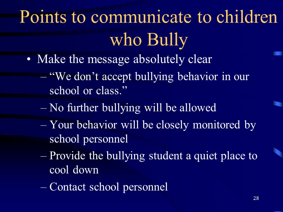 Points to communicate to children who Bully