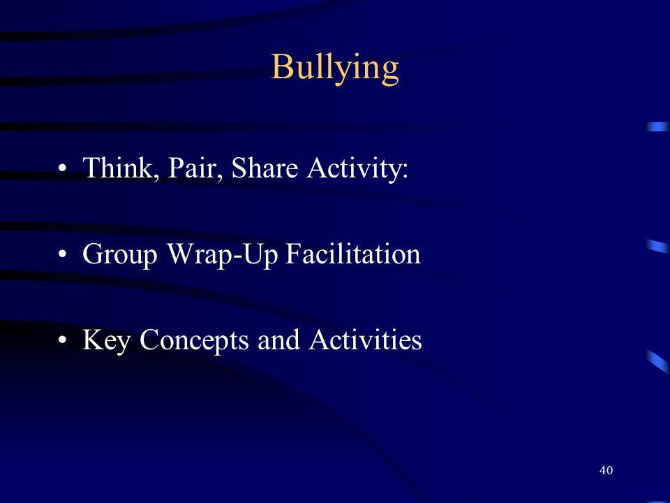 Bullying Think, Pair, Share Activity: Group Wrap-Up Facilitation