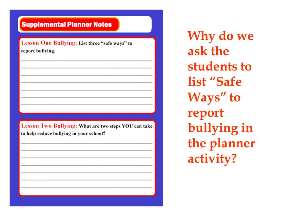 Why do we ask the students to list Safe Ways to report bullying in the planner activity