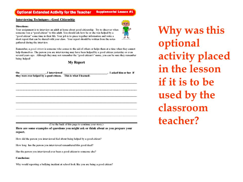 Why was this optional activity placed in the lesson if it is to be used by the classroom teacher