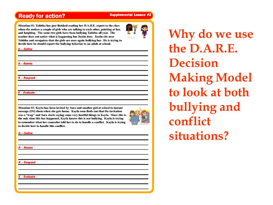 Why do we use the D.A.R.E. Decision Making Model to look at both bullying and conflict situations