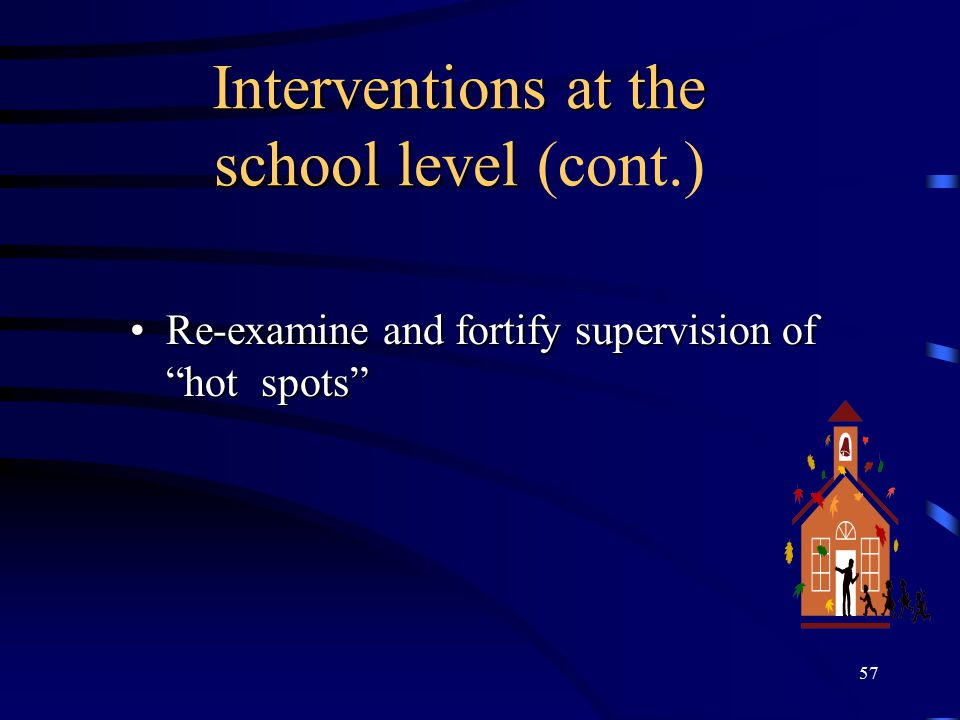 Interventions at the school level (cont.)
