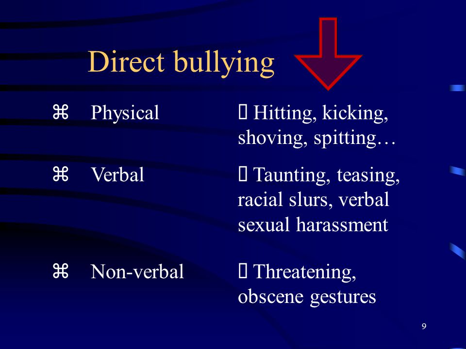Direct bullying z Physical Ø Hitting, kicking, shoving, spitting…