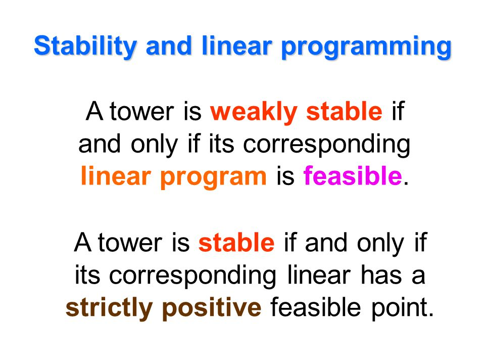 Stability and linear programming