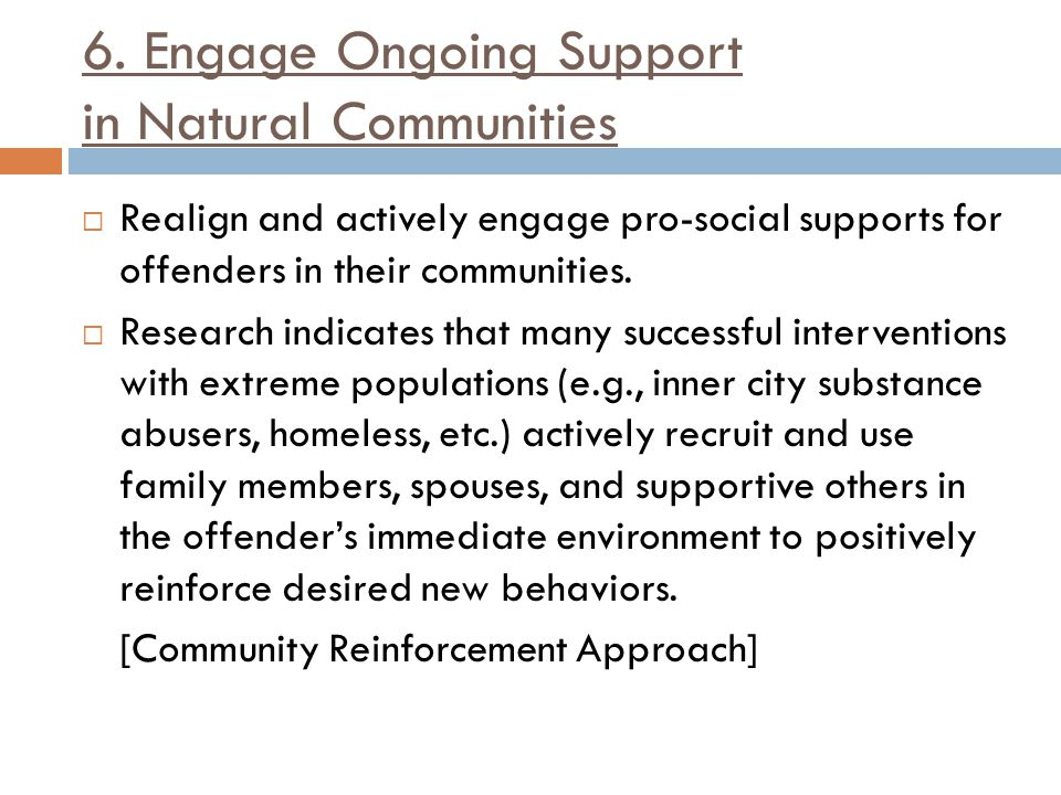 6. Engage Ongoing Support in Natural Communities
