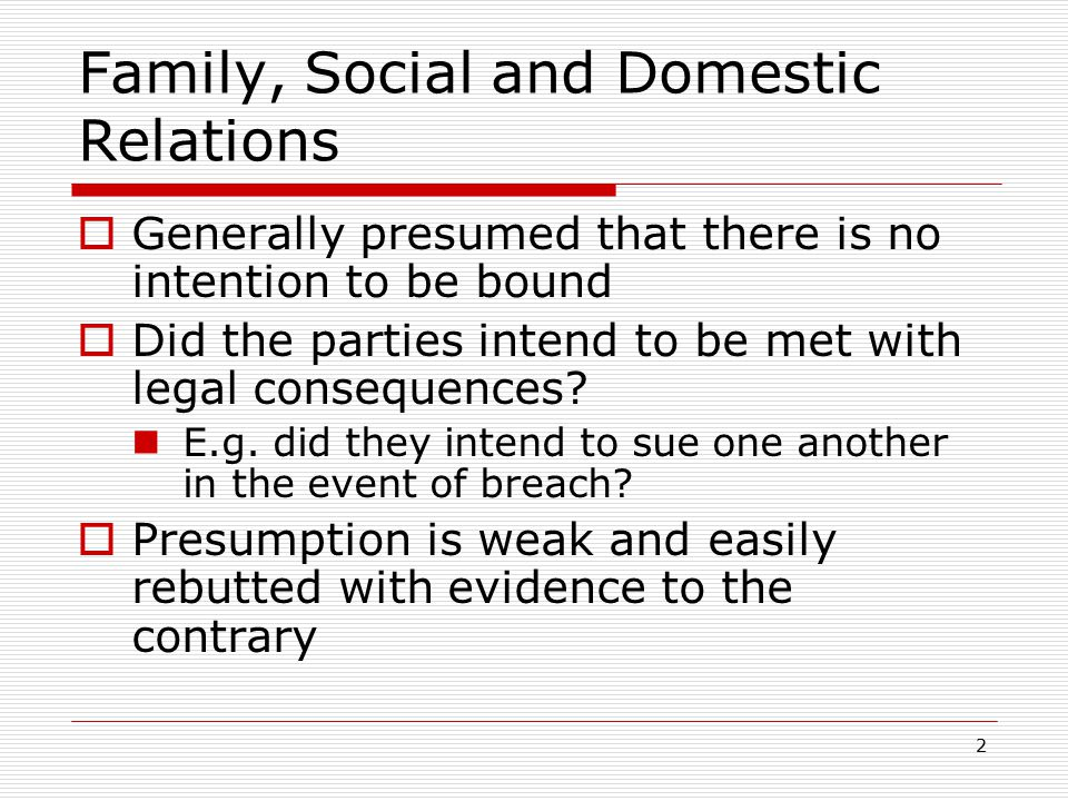 Family, Social and Domestic Relations