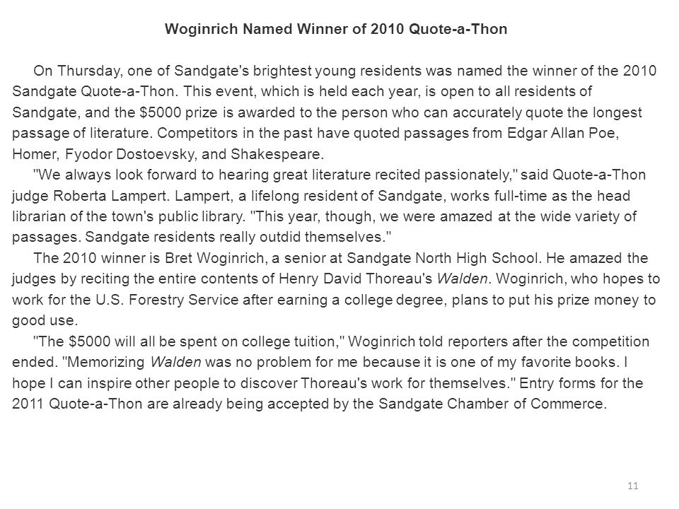 Woginrich Named Winner of 2010 Quote-a-Thon