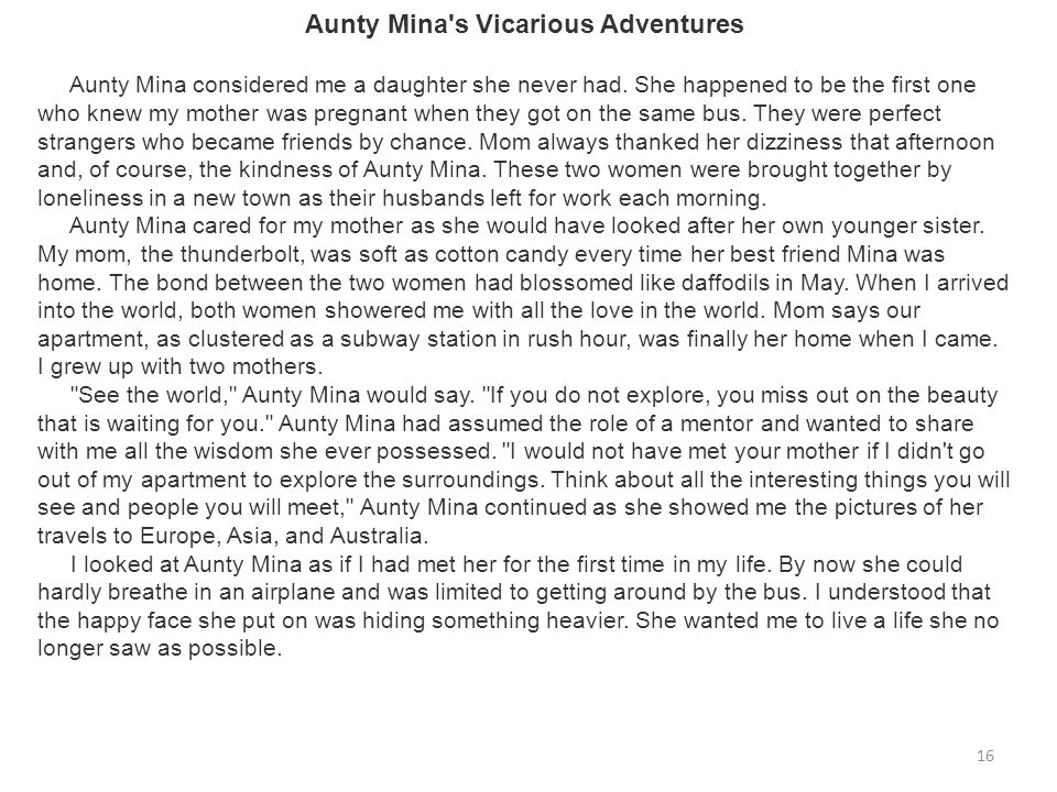 Aunty Mina s Vicarious Adventures