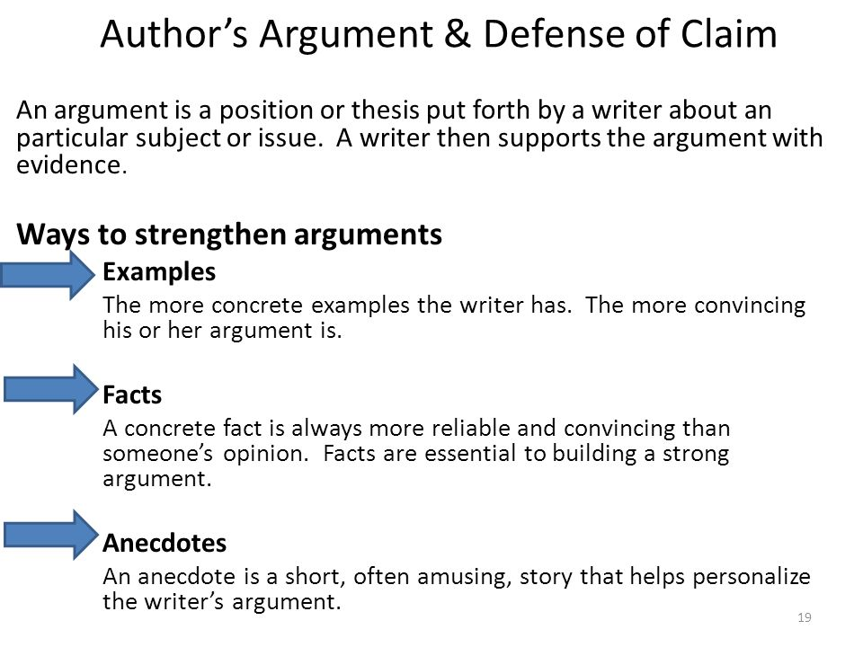 Author's Argument & Defense of Claim