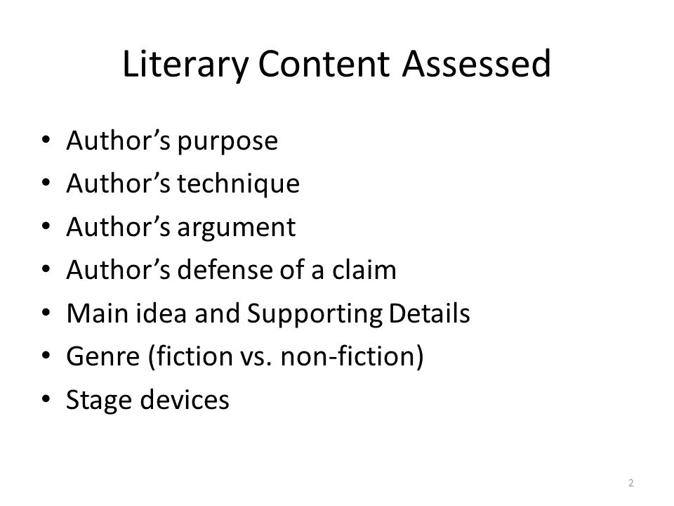 Literary Content Assessed