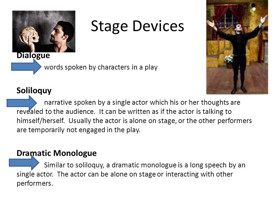 Stage Devices Dialogue Soliloquy Dramatic Monologue