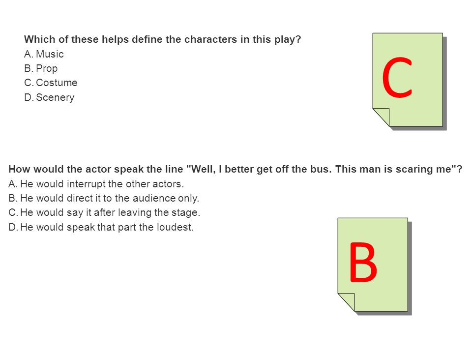 C B Which of these helps define the characters in this play Music