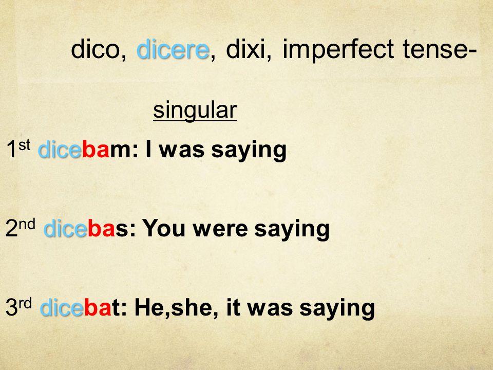 dico, dicere, dixi, imperfect tense-