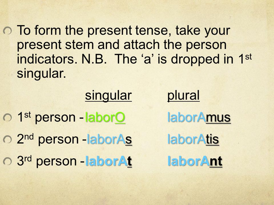 To form the present tense, take your present stem and attach the person indicators. N.B. The 'a' is dropped in 1st singular.