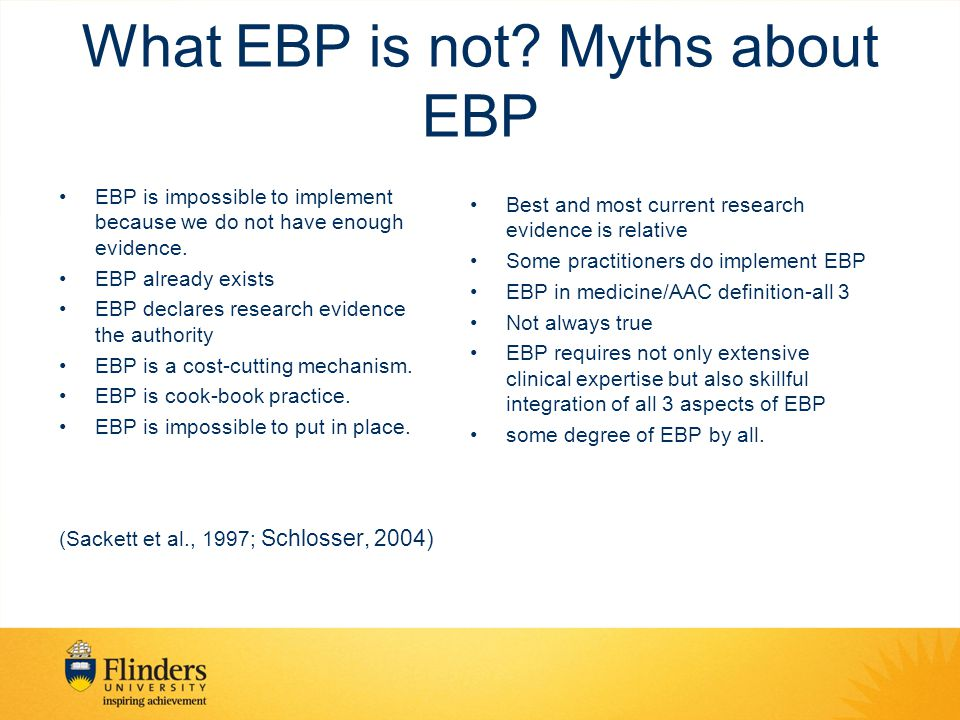 What EBP is not Myths about EBP
