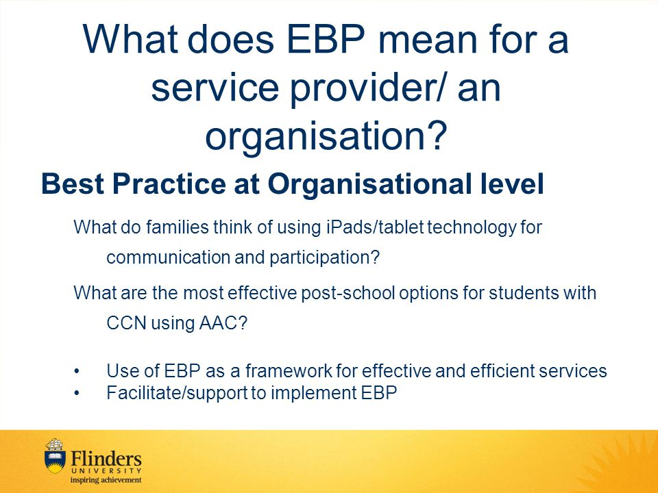 What does EBP mean for a service provider/ an organisation