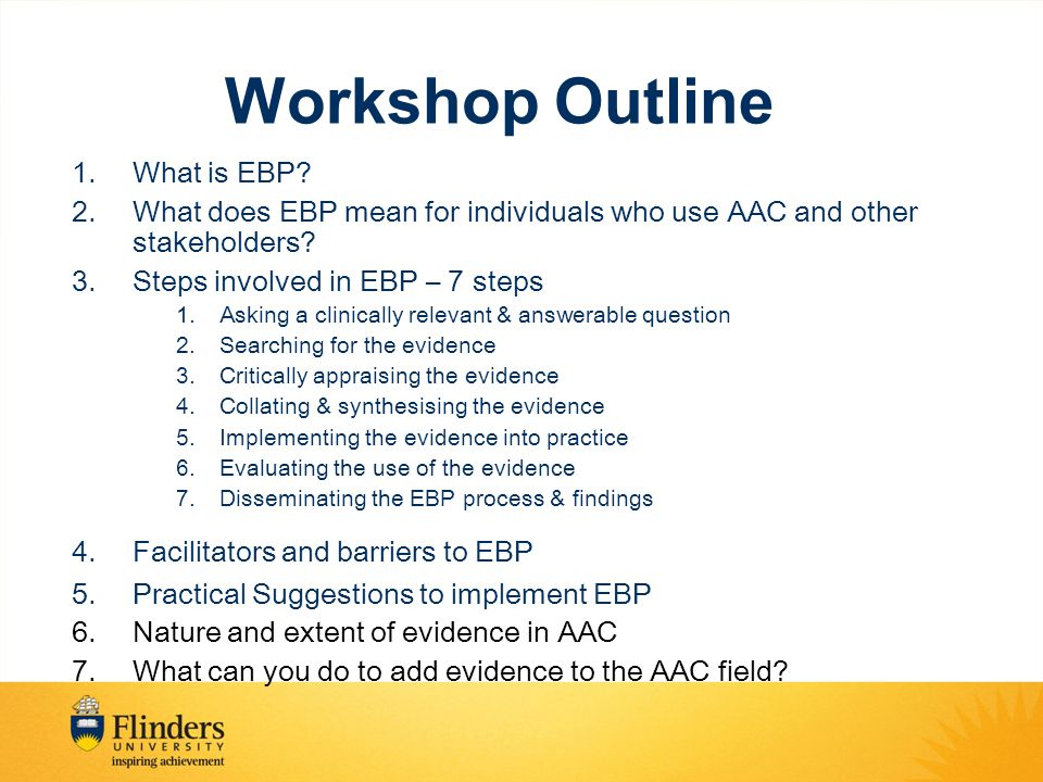 EBP Workshop, Northcott, Sydney