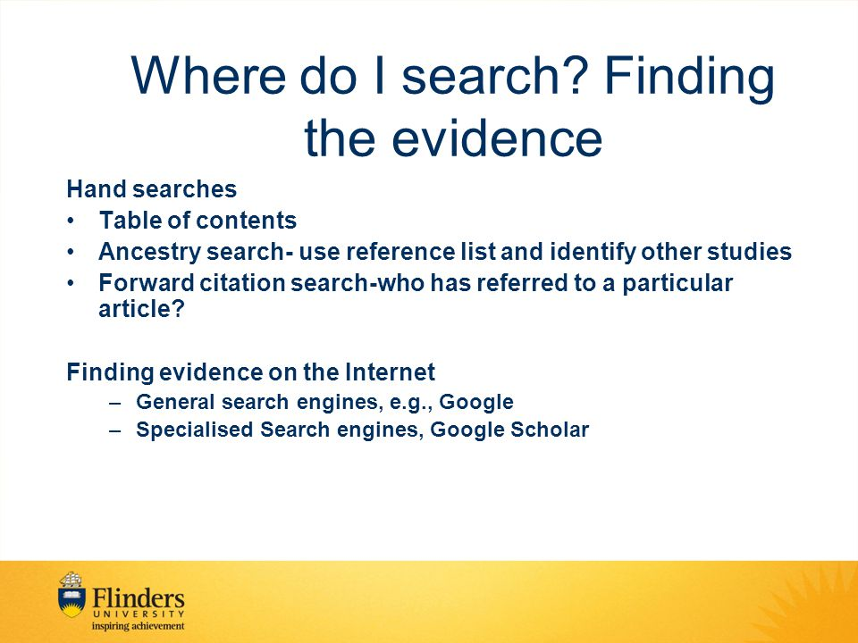 Where do I search Finding the evidence