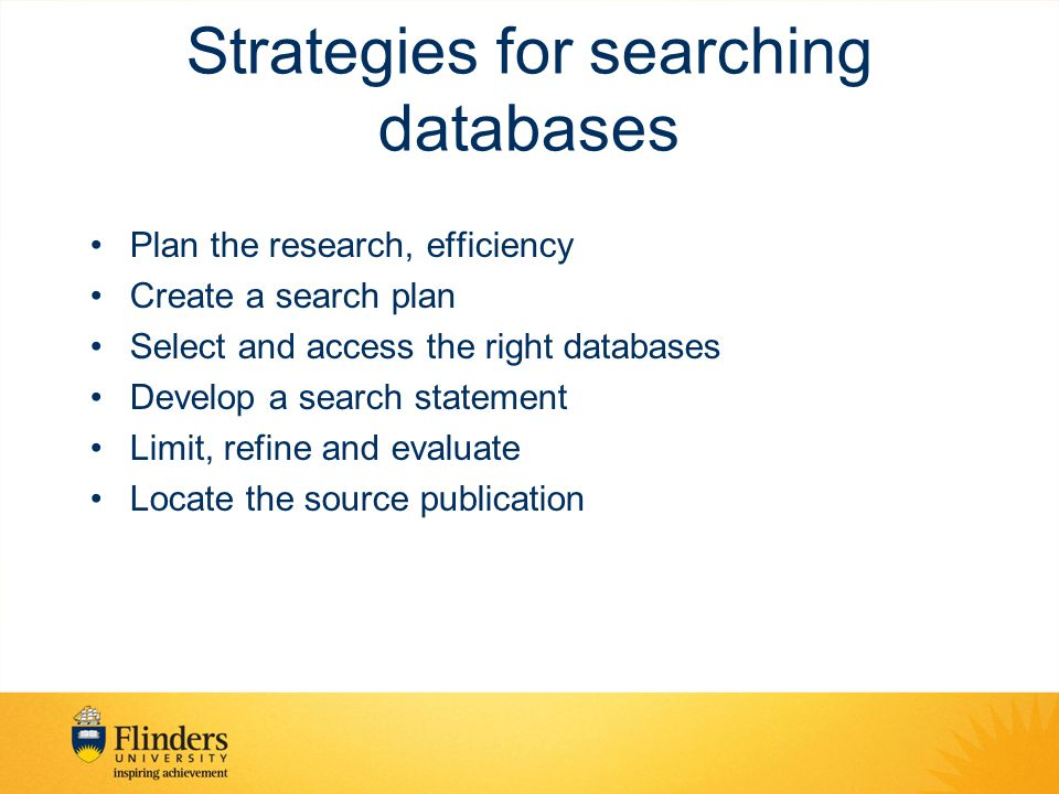 Strategies for searching databases