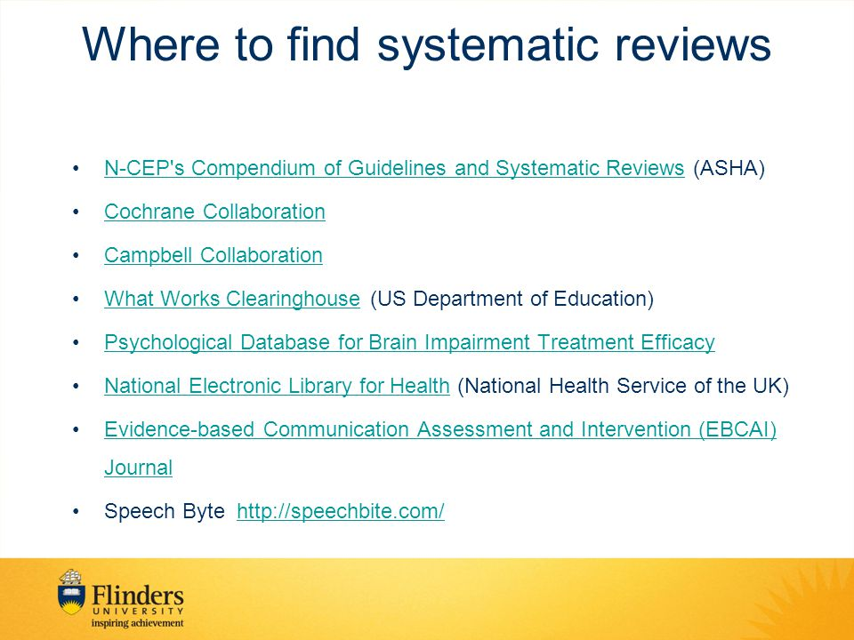 Where to find systematic reviews