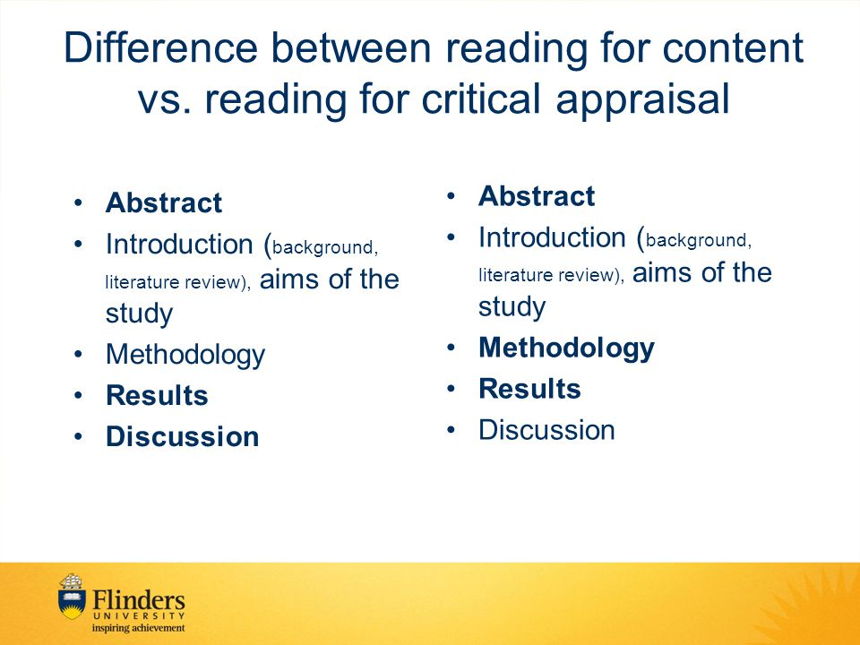 Difference between reading for content vs