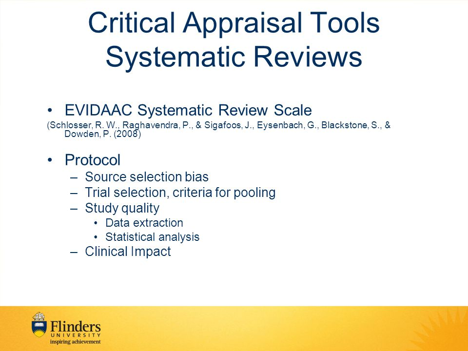 Critical Appraisal Tools Systematic Reviews