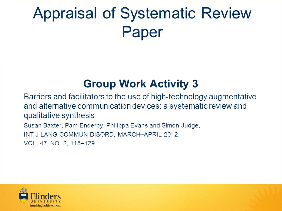 Appraisal of Systematic Review Paper