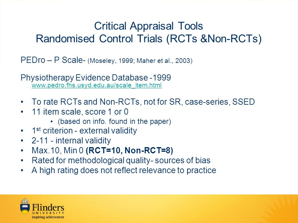 Critical Appraisal Tools Randomised Control Trials (RCTs &Non-RCTs)