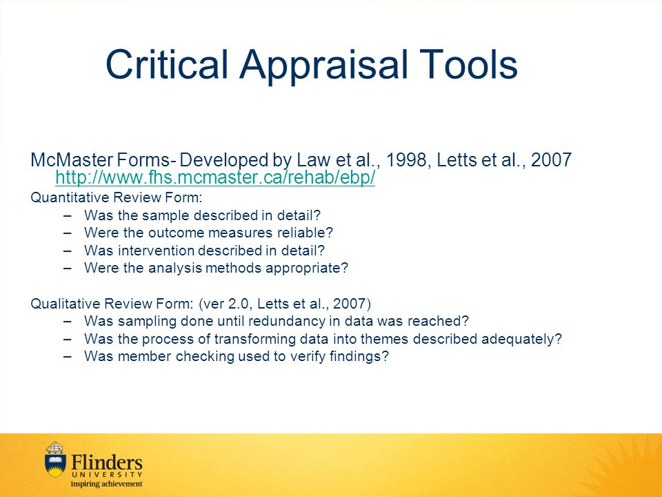 Critical Appraisal Tools