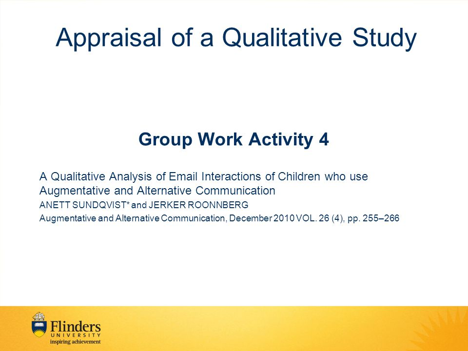 Appraisal of a Qualitative Study