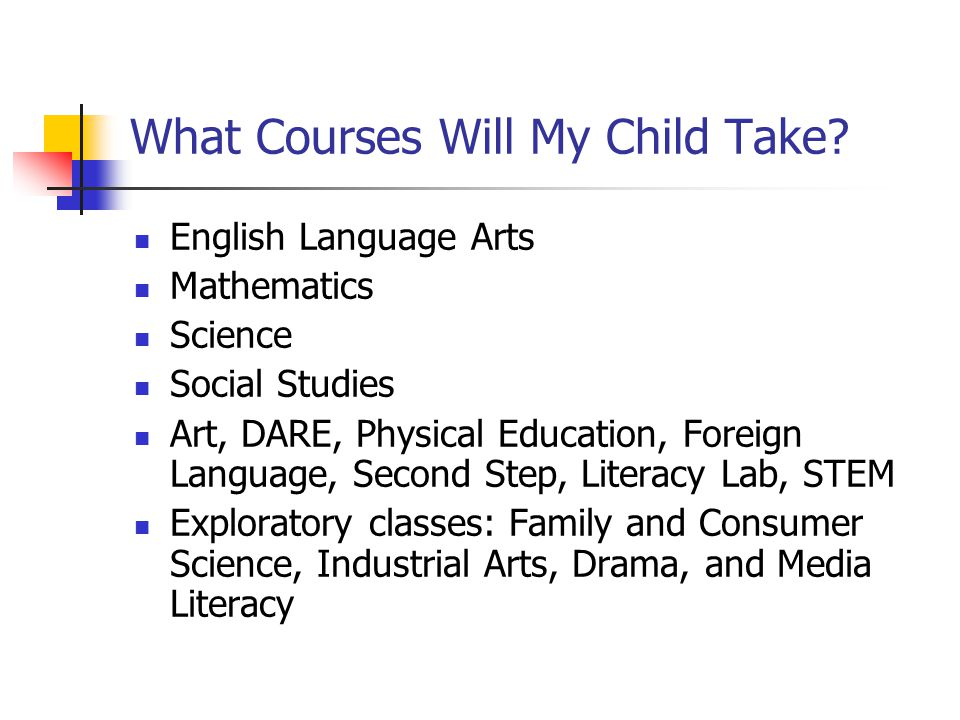 What Courses Will My Child Take