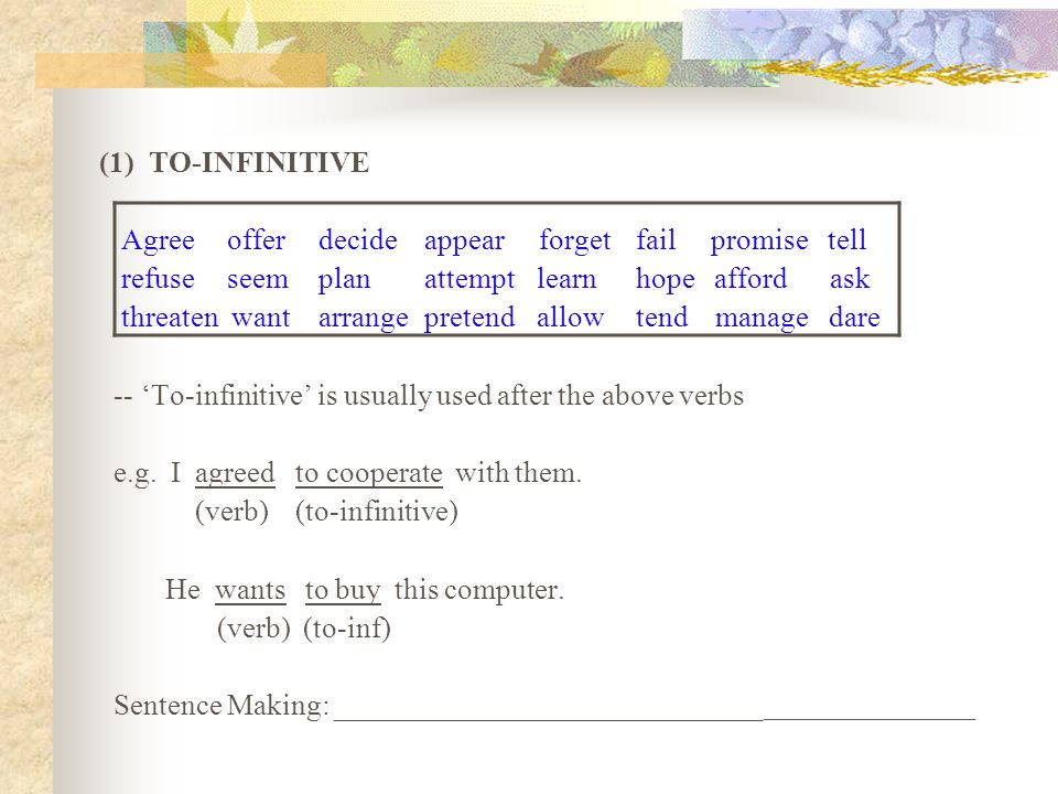 (1) TO-INFINITIVE Agree offer decide appear forget fail promise tell. refuse seem plan attempt learn hope afford ask.
